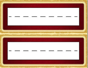 Royal Hued or Theater Themed Desk Name Tag Plates Set