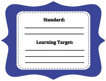 Royal blue learning center task sign for standard and learning target