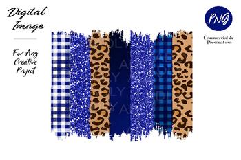 Royal blue leopard brush stroke, Blue Cheetah Brush Stroke PNG for Sublimation