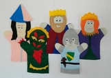 Royalty Felt Hand Puppet Set (King, Queen, Princess, Knight, Dragon)