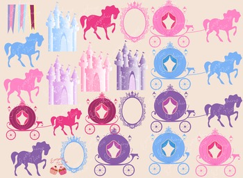 Royalty Royal Carriages Castles Mirror Frames Fairy Tale Clipart Set