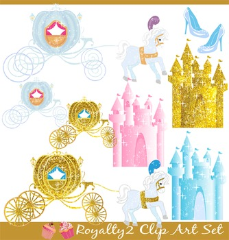 Royalty Royal Carriages Golden Castles Horses Fairy Tale Clipart Set