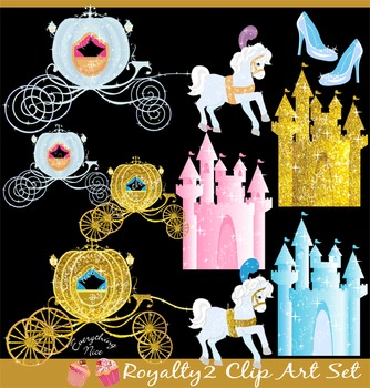 Royalty Royal Carriages Golden Castles Horses Fairy Tale Clipart Set