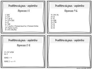 Résolution de problème en mathématique : septembre