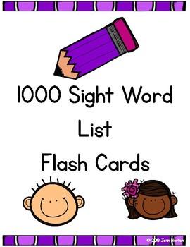 RtI: 1000 Sight Word List Flash Cards