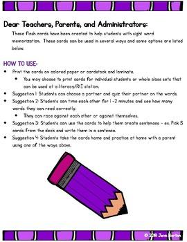 RtI: 600 Sight Word List Flash Cards