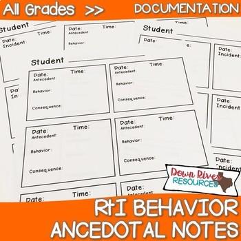 RtI Behavior Ancedotal Notes Printables: Ready to Use
