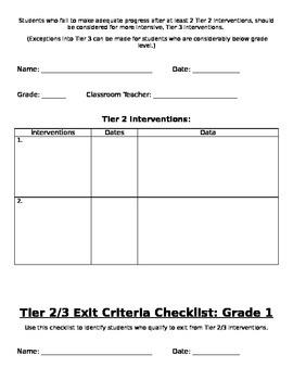 RtI: Grade 1 Criteria Checklist