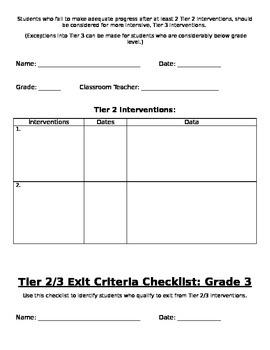 RtI: Grade 3 Tier 2 Placement Criteria Checklist