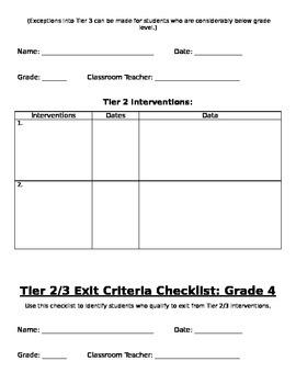 RtI: Grade 4 Tier 2 Placement Criteria Checklist