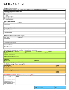 RtI Initial Referral Form - Fillable form with checkboxes