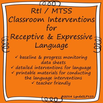 RtI / MTSS Classroom Interventions for Receptive & Expressive Language (K-2nd)