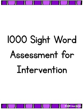 RtI: Sight Word Assessment for Intervention
