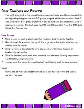 RtI: Sight Word Writing Practice Book 2
