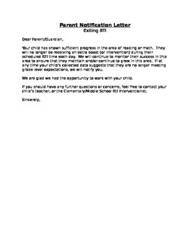 Rti Tier 2 3 Exit Parent Notification Letter By Sarah
