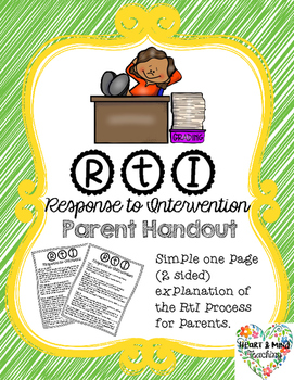 RtI parent explanation handout; Response to intervention MTSS CPST