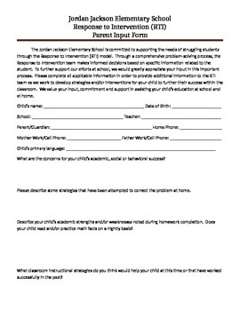 RtI parent input form