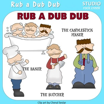 Rub a Dub Dub Color Clip Art  C. Seslar