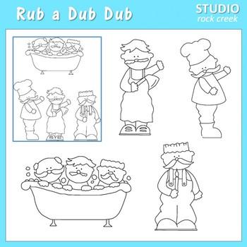 Rub a Dub Dub Line Drawings Clip Art  C. Seslar