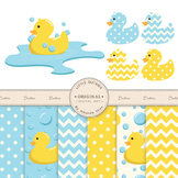 Rubber Duck Clip Art & Digital Paper Set - Rubber Ducks Cl