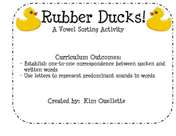 Rubber Duck Vowel Sorting Activity