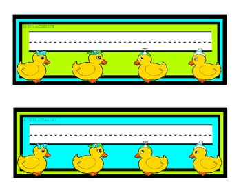 Rubber Ducky Themed Nameplates Turquoise / Teal Lime Black