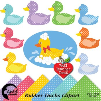Duck clipart, Rubber Ducky Clipart, Digital Papers, AMB-434