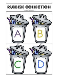 Rubbish Collection Alphabet Game - US FONT
