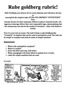 Rube Goldberg Cartoon Design Rubric