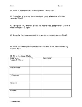 Rubenstein 12th Edition Chapter 1, KI 1 Vocab and Guided Reading Questions