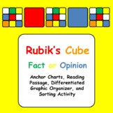 Rubik's Cube Fact or Opinion Sort Activity, Anchor Charts, and Graphic Organizer