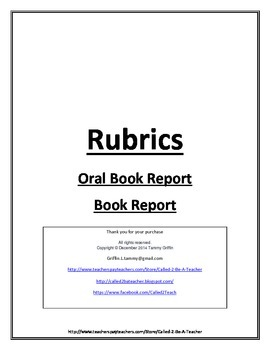 Set of 2 Book Report Rubrics Oral and Written