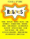 Middle School Rubrics Jam Pack