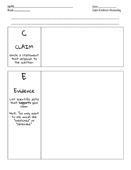 Claim Evidence Reasoning Scientific Argumentation Organizer and Rubric (NGSS)
