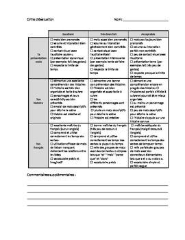Rubric: French oral presentation (storytelling)
