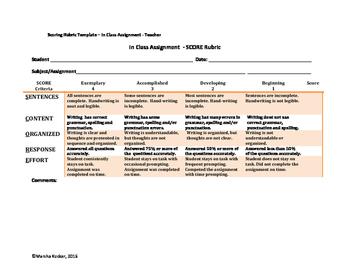 Rubric  - In Class Assignment (SCORE)