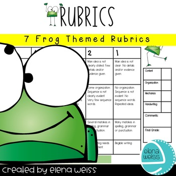 RUBRICS: Writing (3), Homework, Group Work, Behavior and Presentation-Frog Theme
