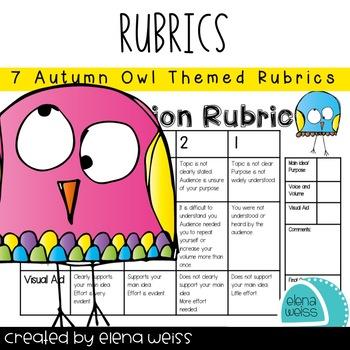 Rubrics :Writing (3), Homework, Groups, Behavior and Presentation-Owl Theme