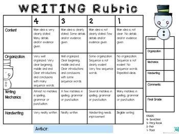 Rubrics: Writing (3), Homework, Groups, Behavior and Presentation-Winter Theme
