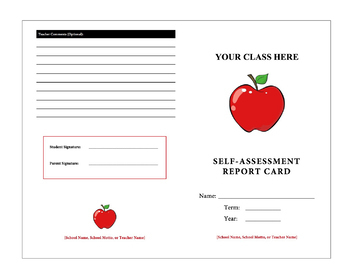 Rubric - Student Self-Assessment Reflection Report Card
