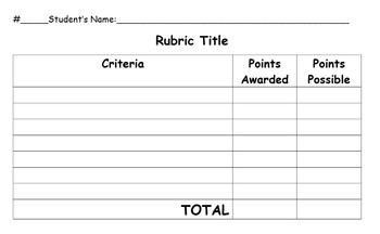 Rubric Template By Jessie S Teachers Pay Teachers