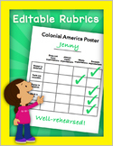 Rubric Template, PLUS Editable Rubrics for Projects, Math, and Writing