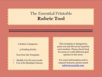 The Essential Printable Rubric Tool: 6 Column Headers & 3