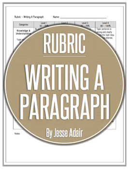 Rubric: Writing A Paragraph