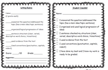 Rubric and Student Checklists for Writing a Response