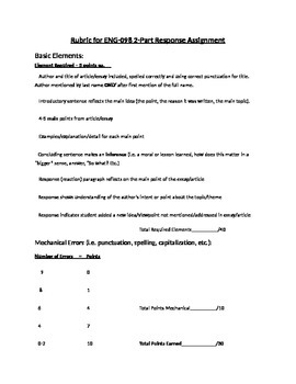 Rubric for 2-Part Response essay (summary and reaction)