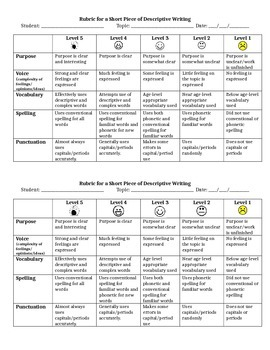 Rubric for Descriptive Writing (Grade 2)