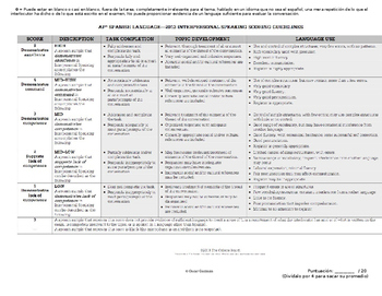 Rubric for Interpersonal Speaking Conversation   AP Spanish Language and Culture