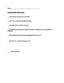 Rubric for Presidential Bio-Poem