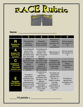 Rubric for Reading Comprehension Responses using R.A.C.E.
